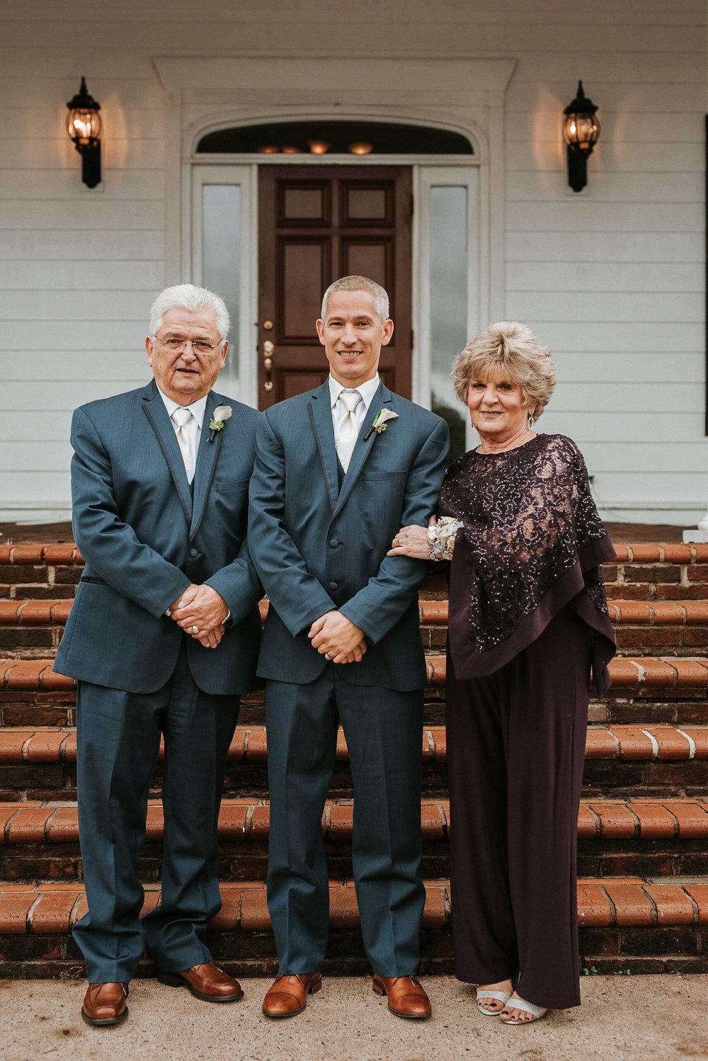 groom and his parents at St. Mark Orthodox Church