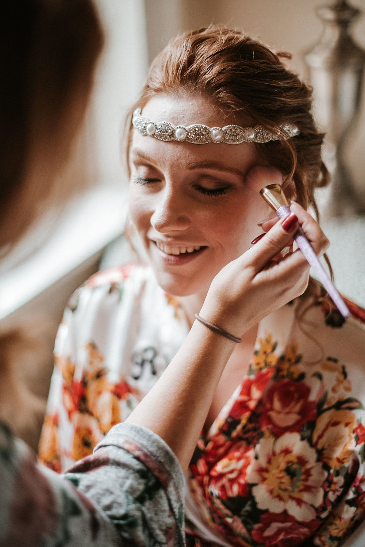 bride getting ready at Braehead Manor