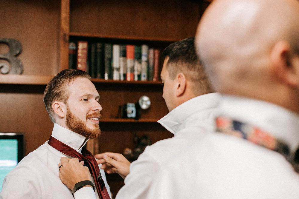 groom getting ready at Braehead Manor