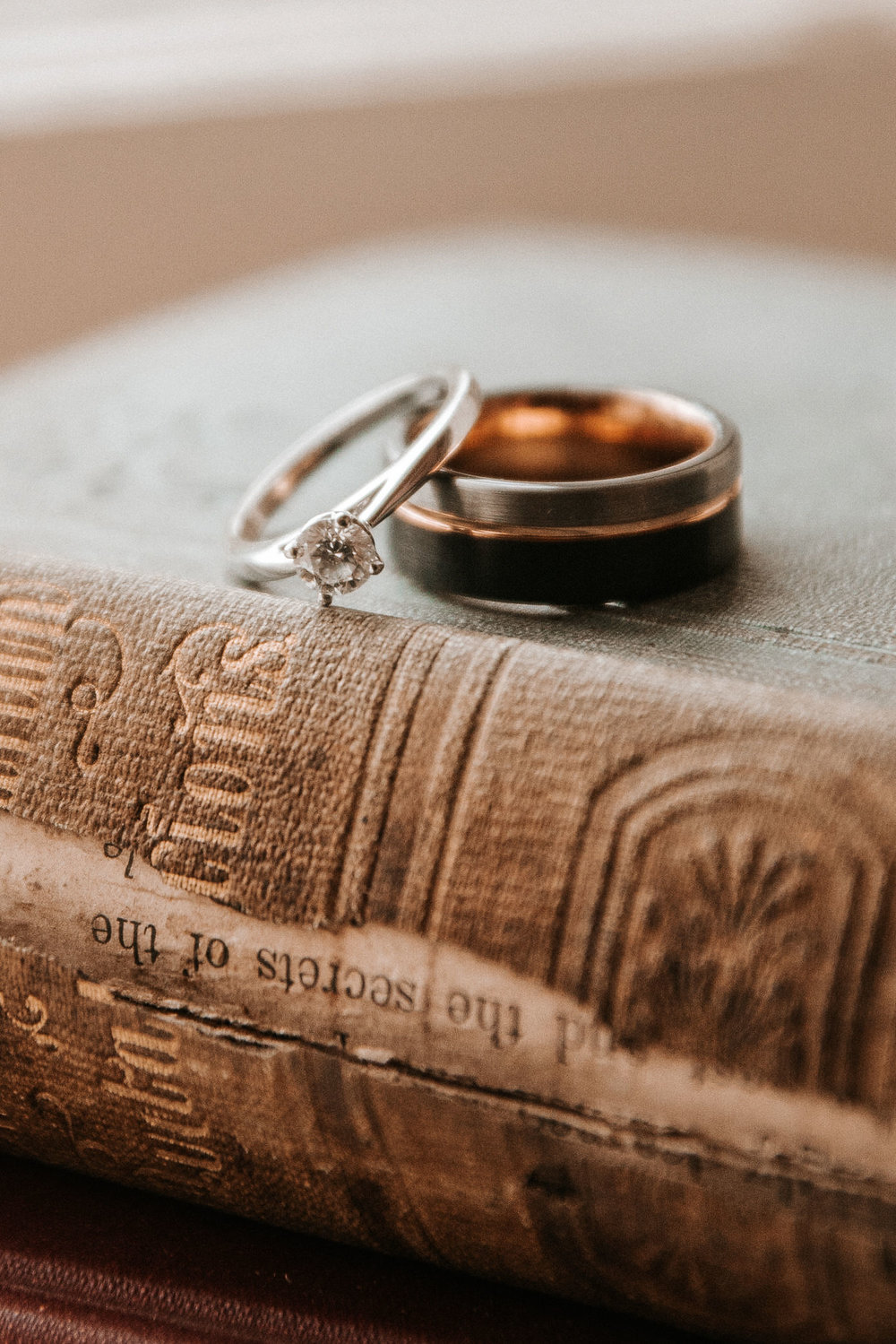 detail shot of wedding rings at Braehead Manor