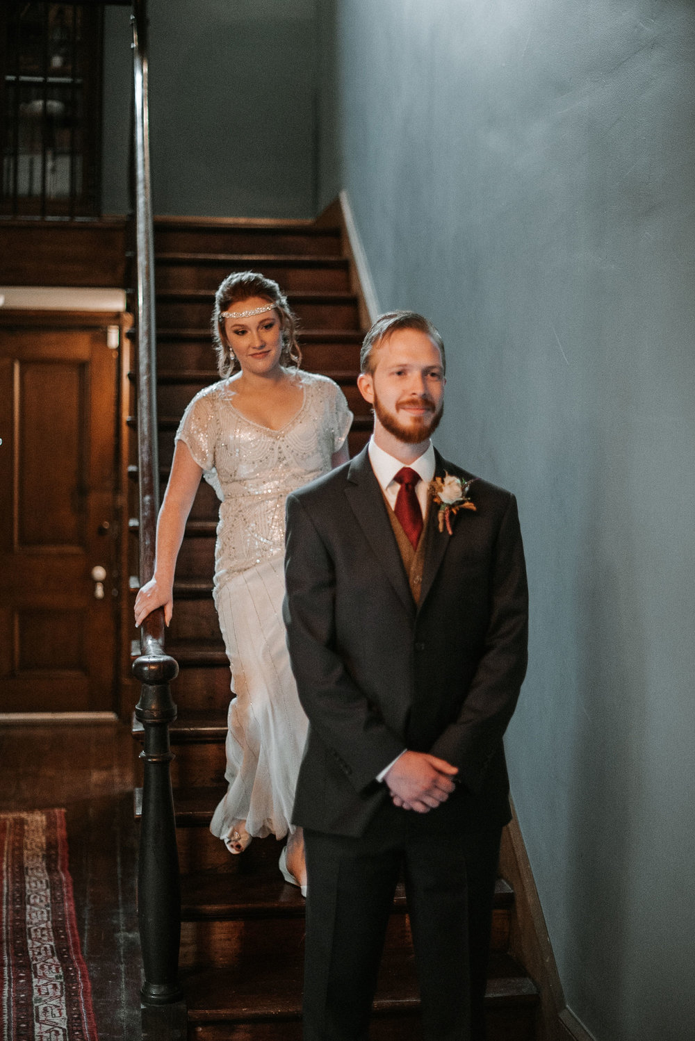 bride and groom do a first look at Braehead Manor