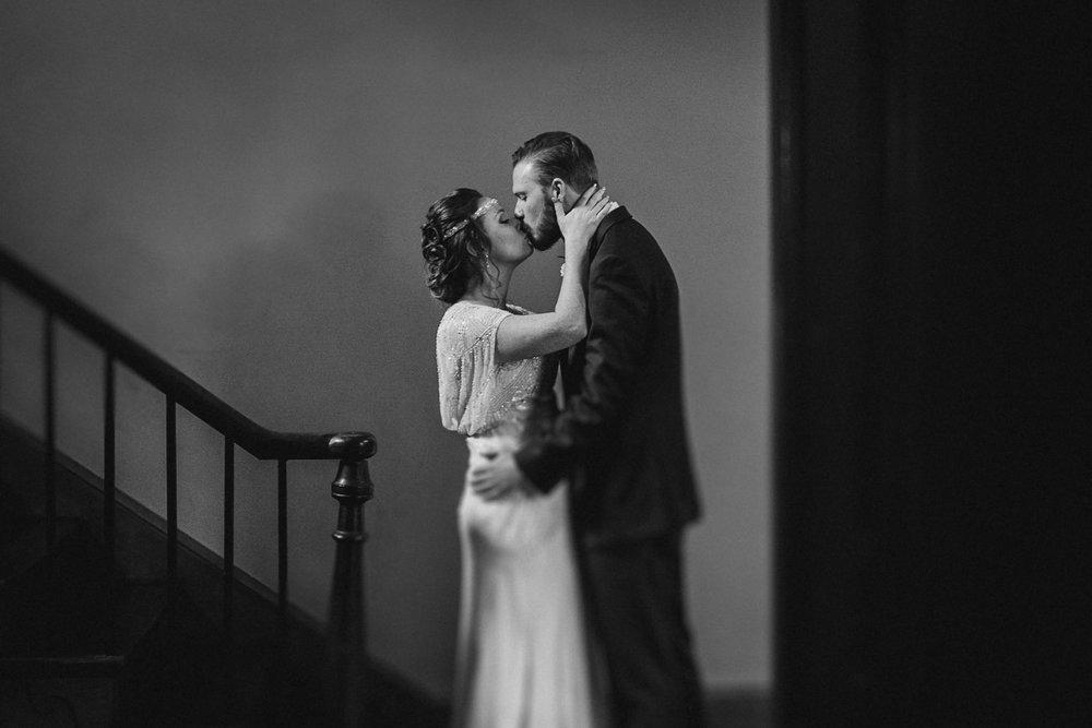 bride and groom kiss at Braehead Manor
