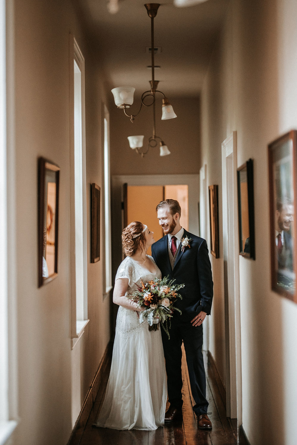 bride and groom looking at each other at Braehead Manor