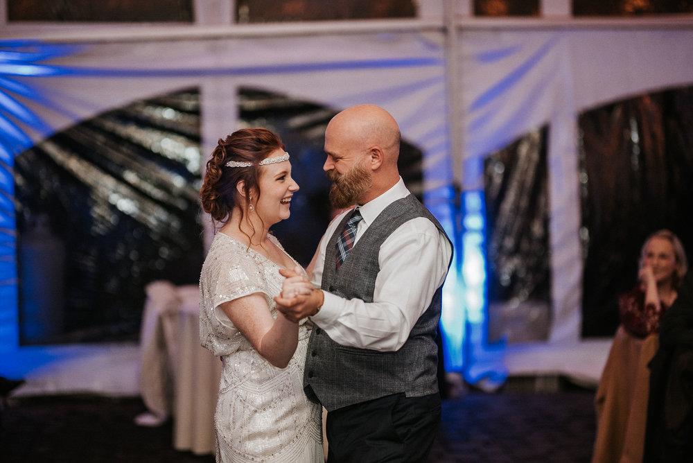 bride dances with step-dad at Braehead Manor
