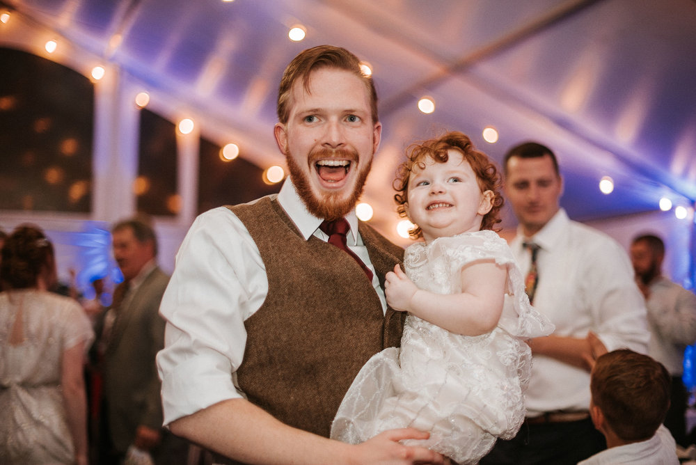 groom dancing with daughter at reception at Braehead Manor