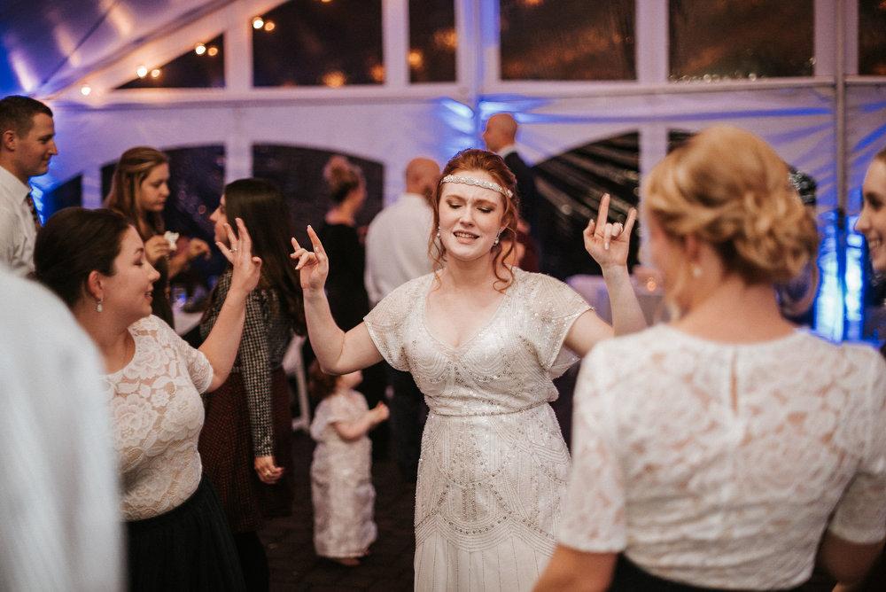 bride dancing with guests at Braehead Manor