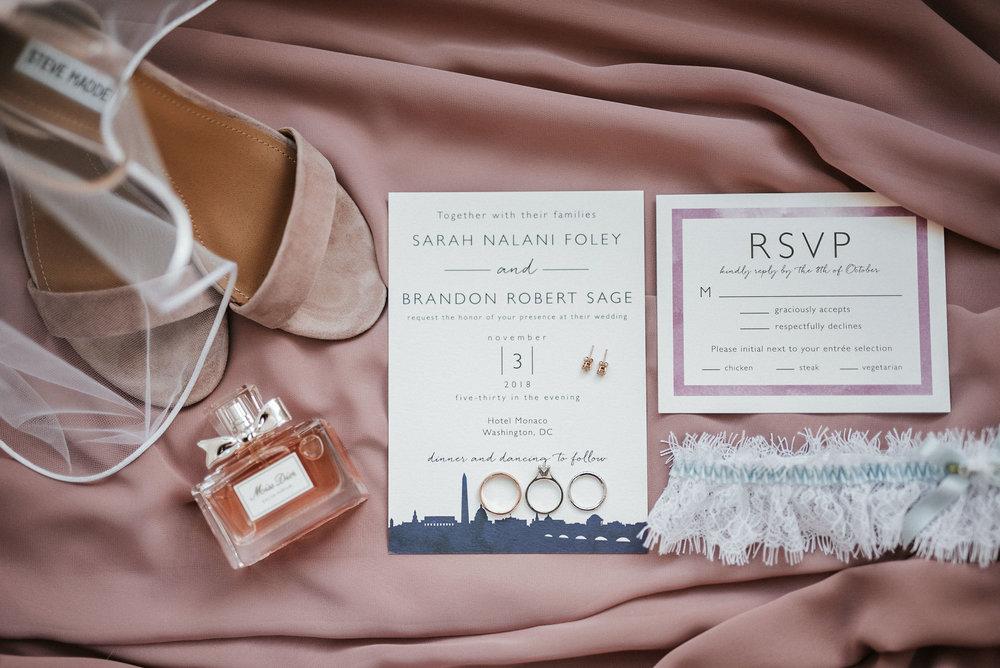 Bridal detail shots at Hotel Monaco