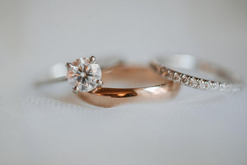 detail shot of wedding rings at Hotel Monaco