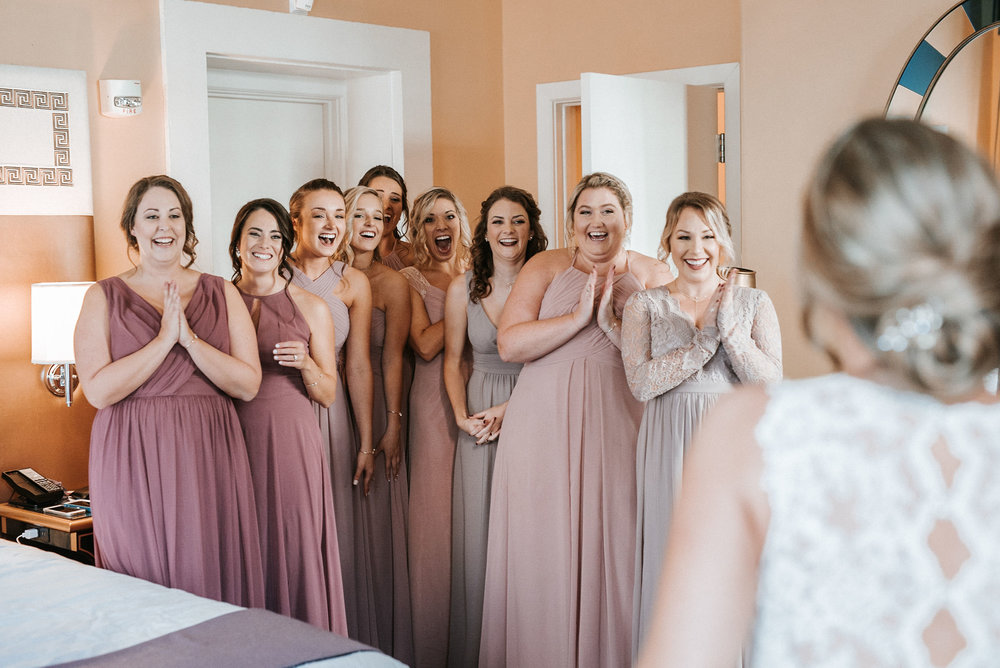 bridesmaids seeing bride for the first time at Hotel Monaco