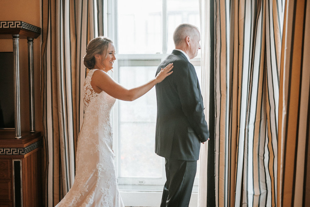 bride and father of the bride first look at Hotel Monaco