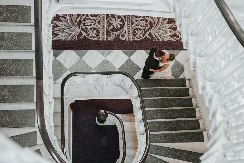 bride and groom aerial view at Hotel Monaco