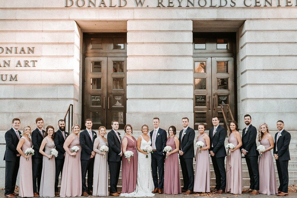 wedding party posing at Hotel Monaco