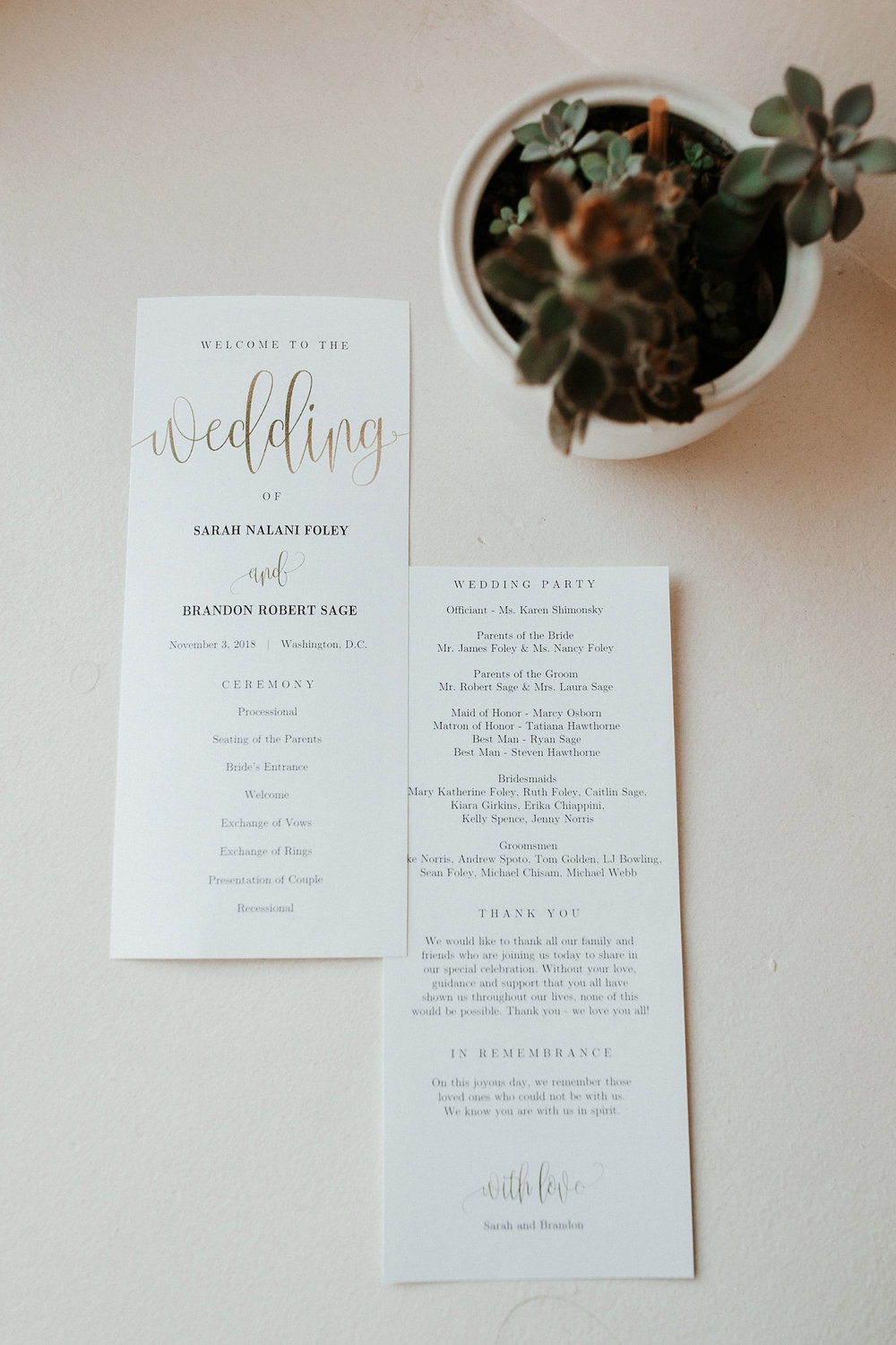 detail shot of ceremony sheet at Hotel Monaco
