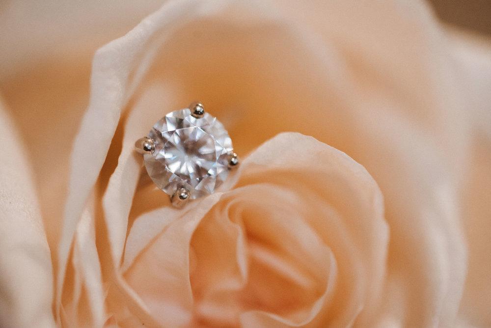 detail shot of wedding ring at the inn at the silk mill