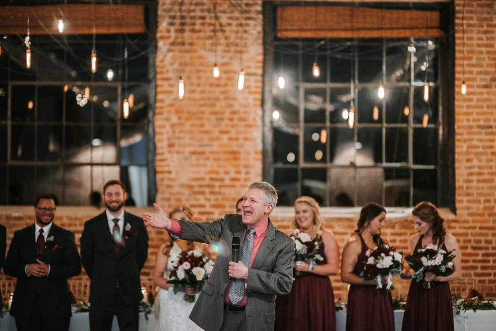 father of the bride singing at the inn at the silk mill