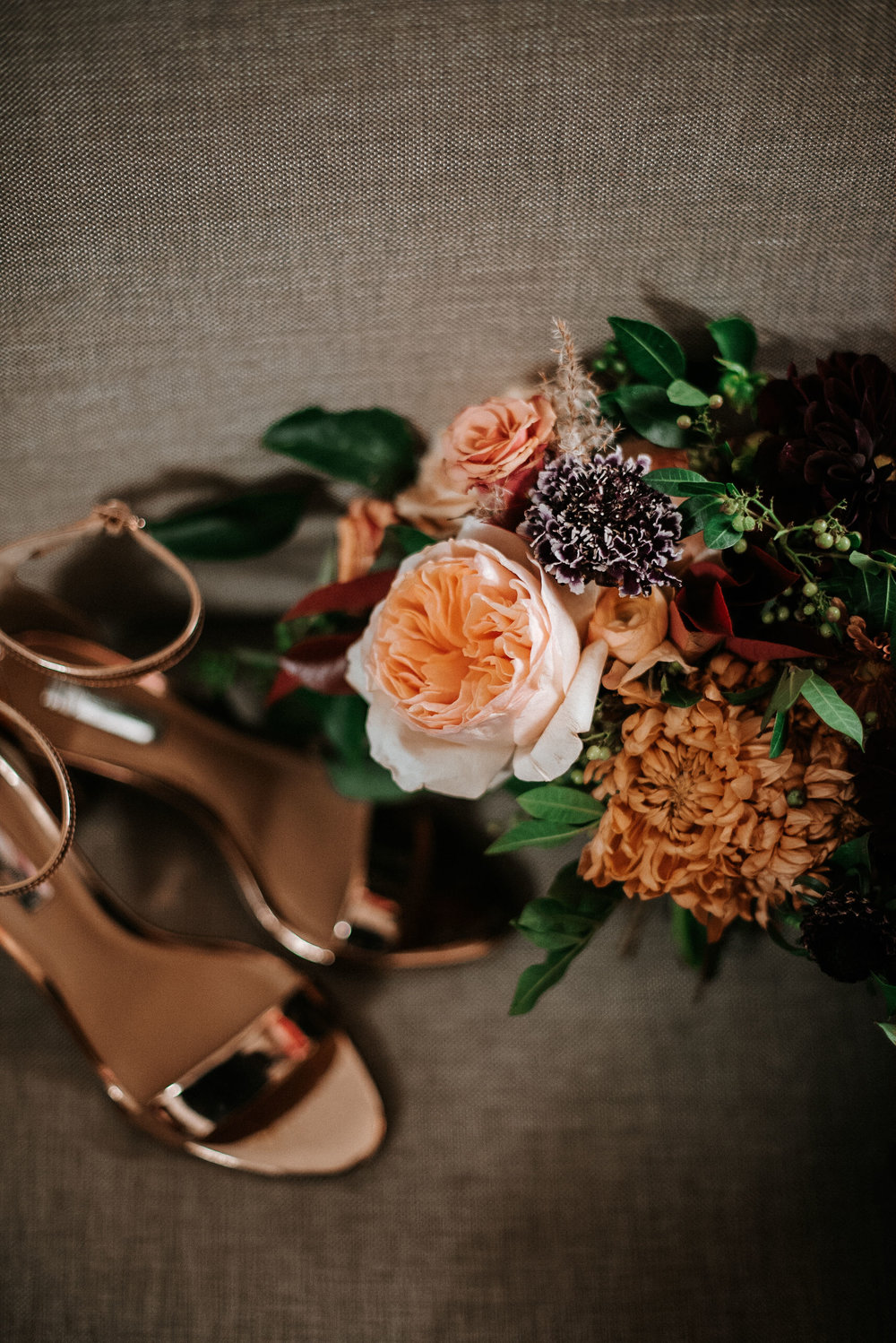 bride detail shot of flowers and shoes The George Washington Masonic National Memorial