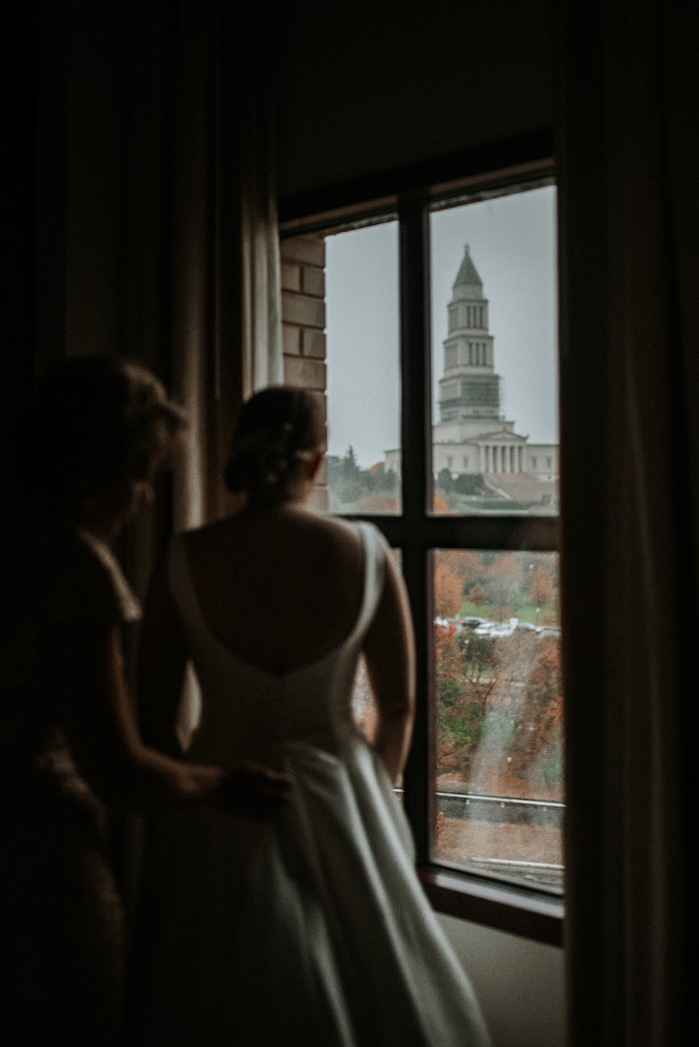 bride looking out of window The George Washington Masonic National Memorial