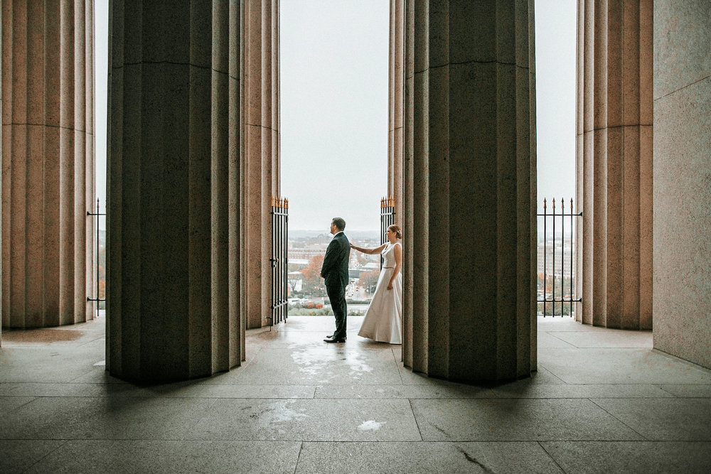 bride and groom first look at The George Washington Masonic National Memorial