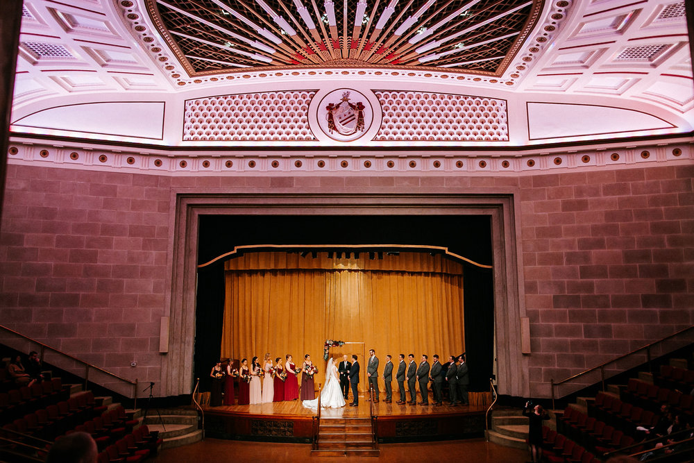 bride and groom standing at the altar at The George Washington Masonic National Memorial