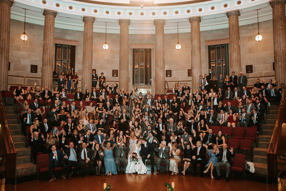 bride and groom and their guests at The George Washington Masonic National Memorial