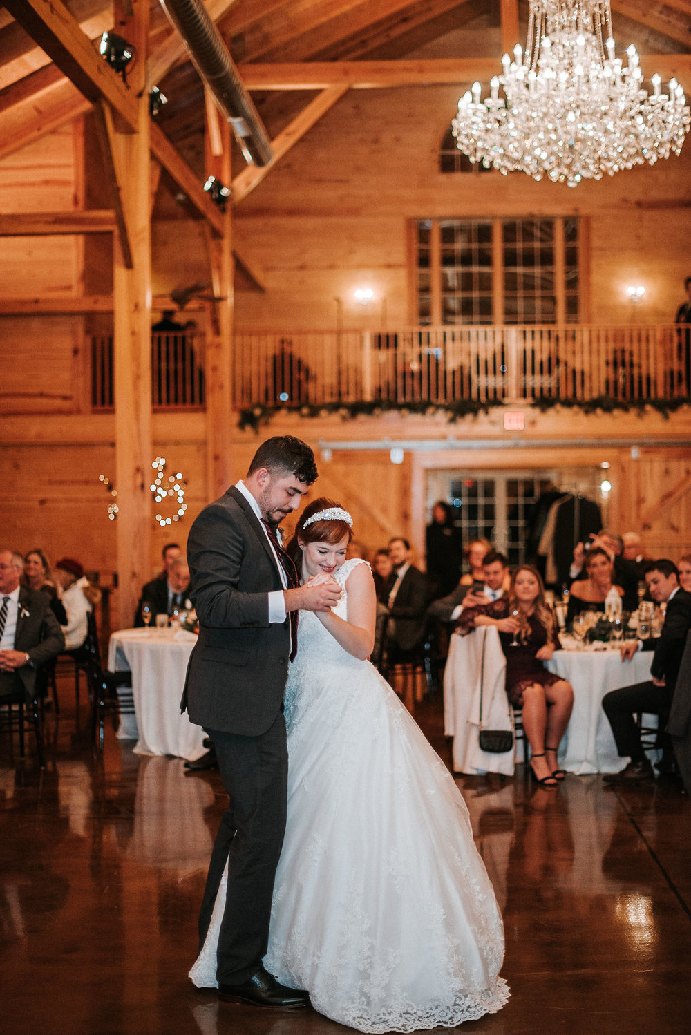 bride and groom having first dance at The Middleburg Barn at Fox Chase Farm