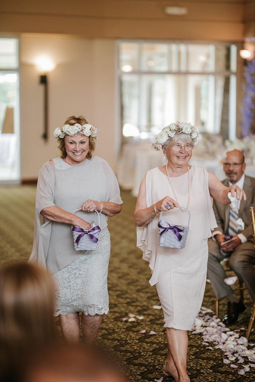 bride's grandmas as flower girls