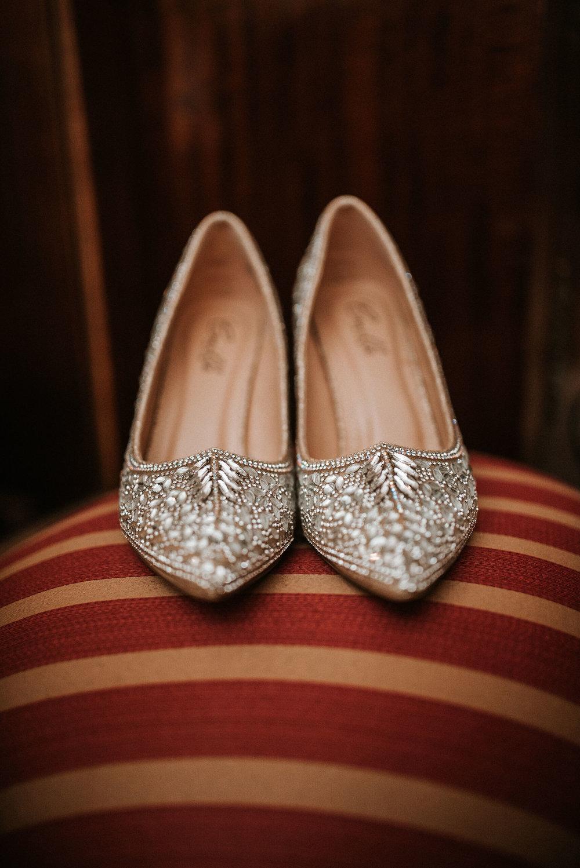 detail shot of bride's wedding shoes at Whitehall Estate