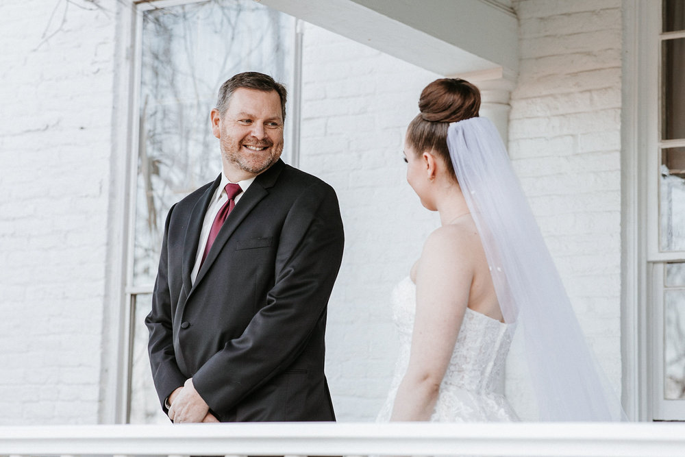 bride and father of the bride first look at Whitehall Estate