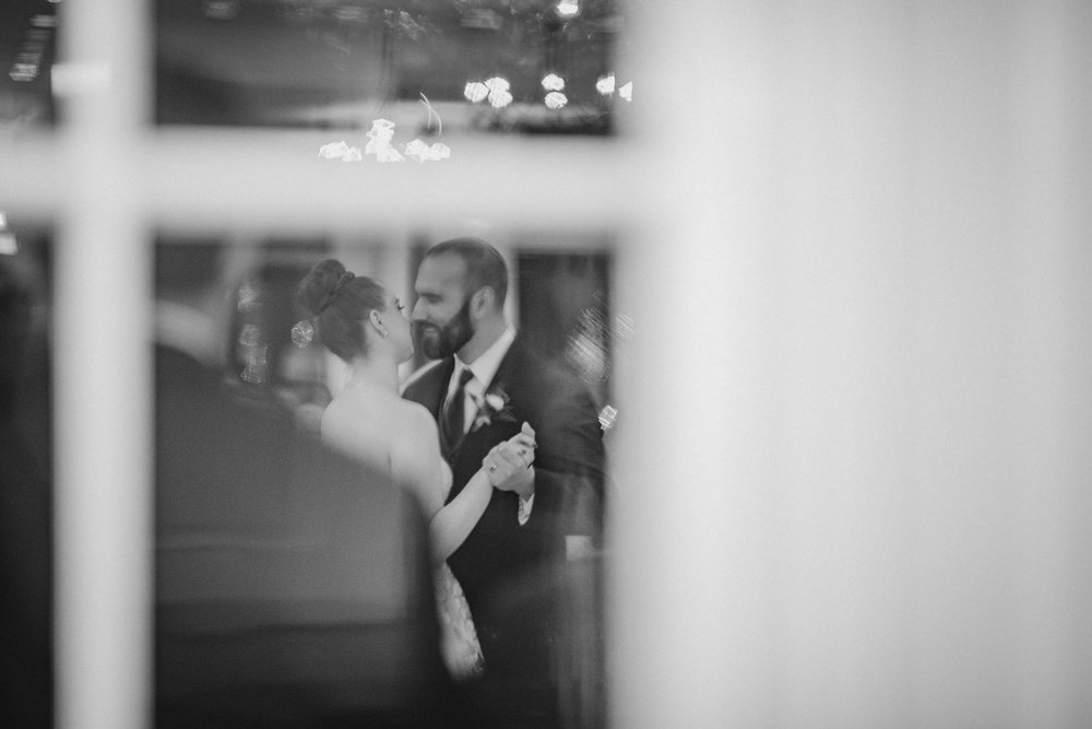 bride and groom dancing at reception at Whitehall Estate