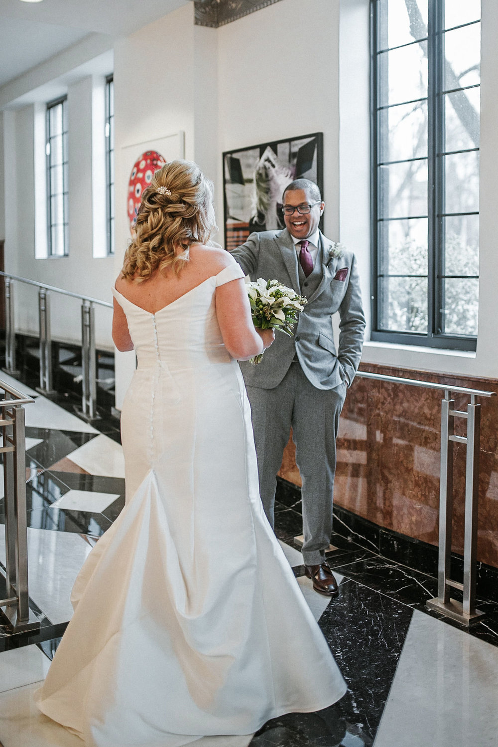 bride and groom first look at the kimpton carlyle hotel