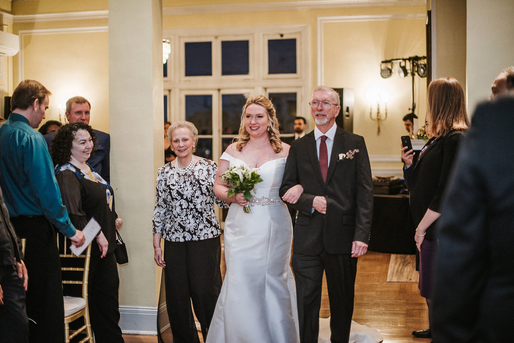 bride walking down the aisle at the josephine butler parks center