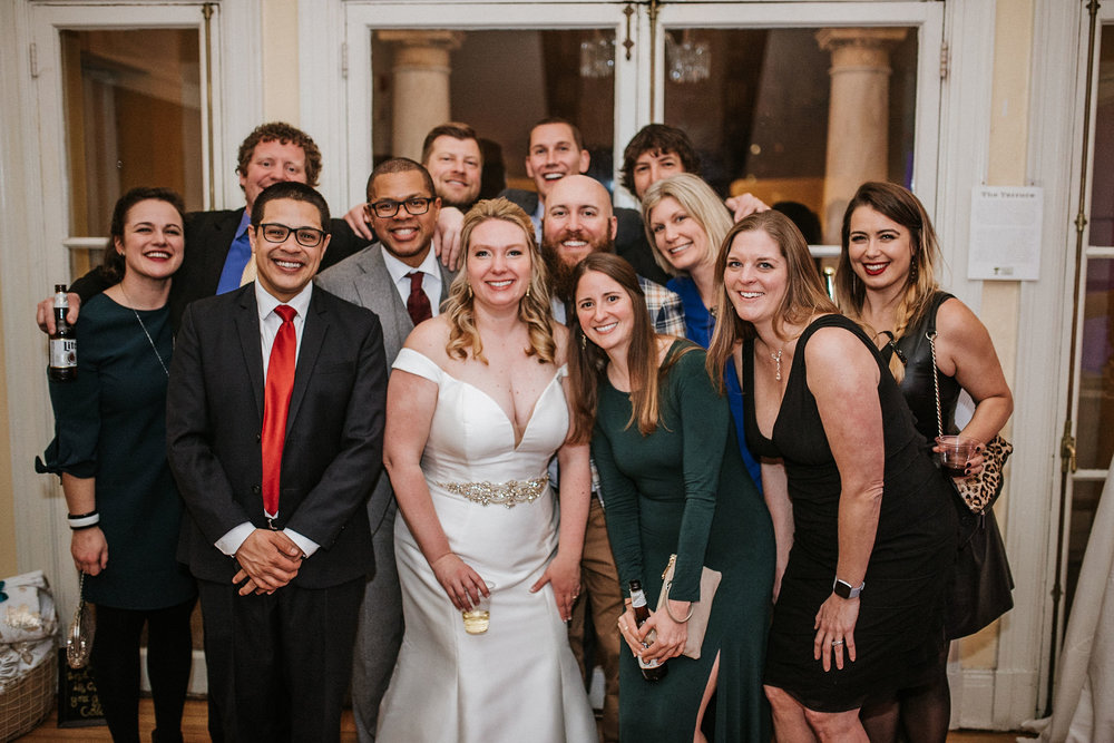 bride and groom smiling with their guests at the josephine butler parks center