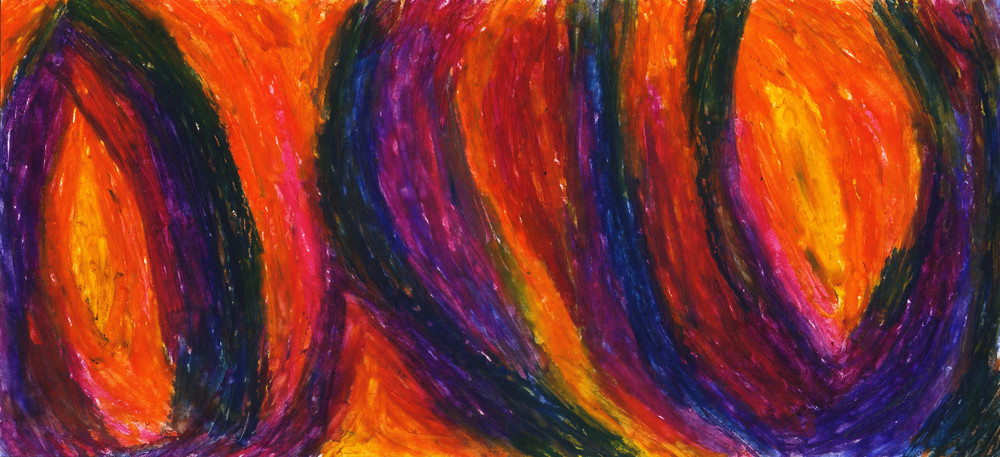 The Divine Fire, 2010, Oil Pastel, 4.35 x 9.65 in