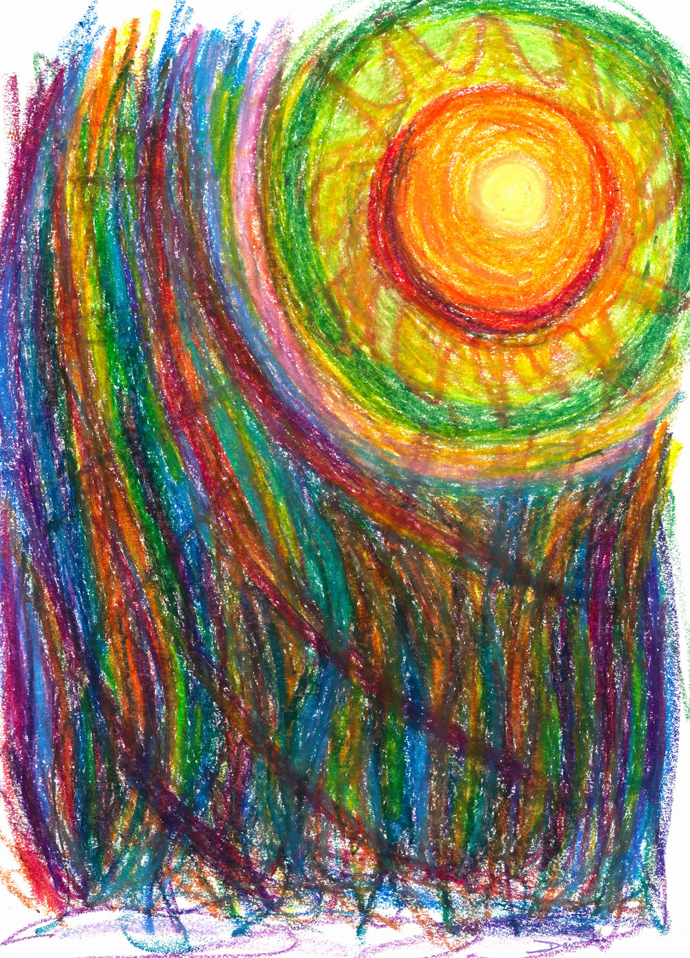 Starburst: The Nebular Dawning Of A New Myth And A New Age, 2012, Oil Pastel, 11 x 14 in