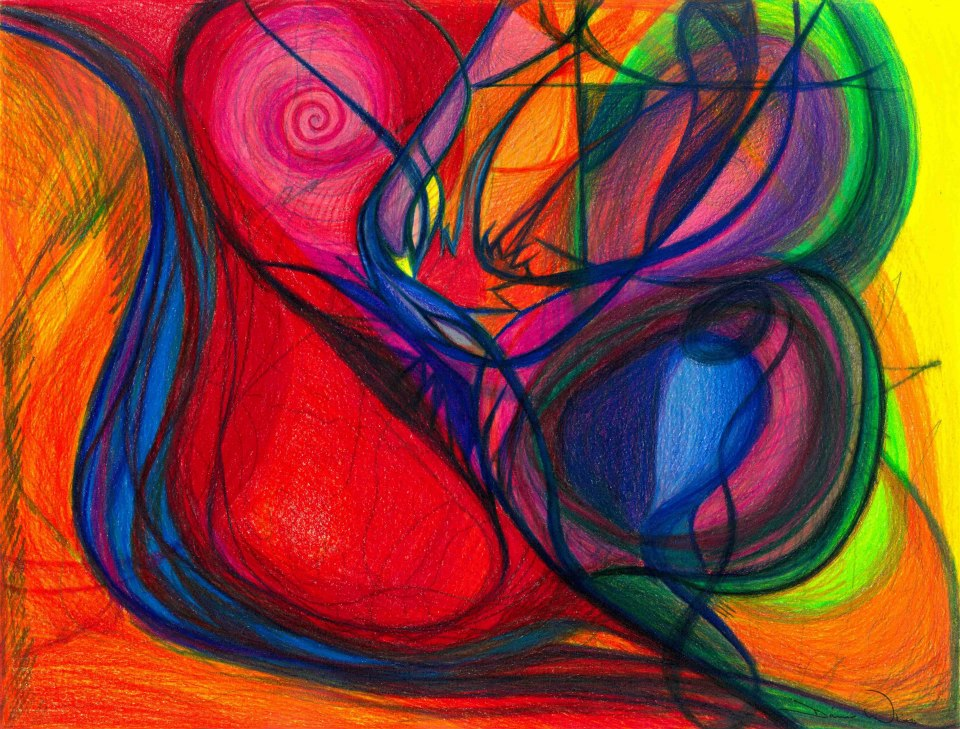 Vibrational Heart Healing: Sounds of Radiant Joy, Purity of Heart, Soul, Mind and Body Aligned, 2013, Colored Pencil, 13.375 x 10.25 in (20.75 x 17.625 in framed and matted)