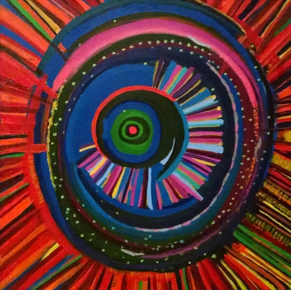 Ocular Energy Path, 2015, Acrylic, 20 x 20 in