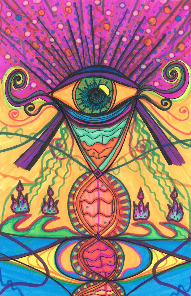 The Eye Opens...To A New Day , 2015, Marker, 5.5 x 8.5 in