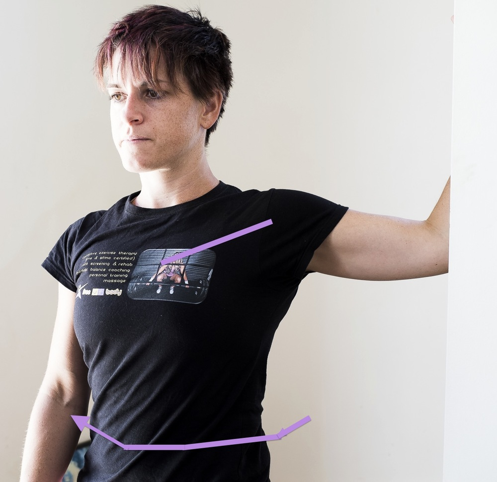 Pec Major Stretch: Bend your elbow to 90 degrees, and 90 degrees at the shoulder, place your forearm on a doorframe or wall, slowly turn your body away until you feel a comfortable stretch.