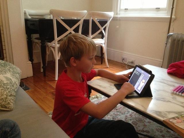 good posture kids watching ipad