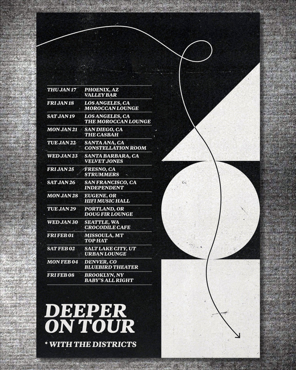 "Deeper continue road doggin in support of their debut album out earlier this year. This Winter they'll hit the West coast and select East coast dates with The Districts. Full list & tickets below. We're down to just a handful of the limited edition ""Plum"" LP in the web store, grab it now while ya can!"