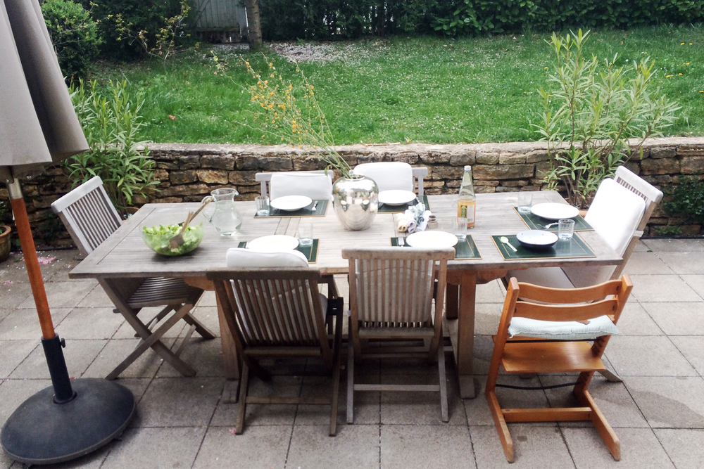 We eat outside for every meal that it is sunny enough to be in the garden.
