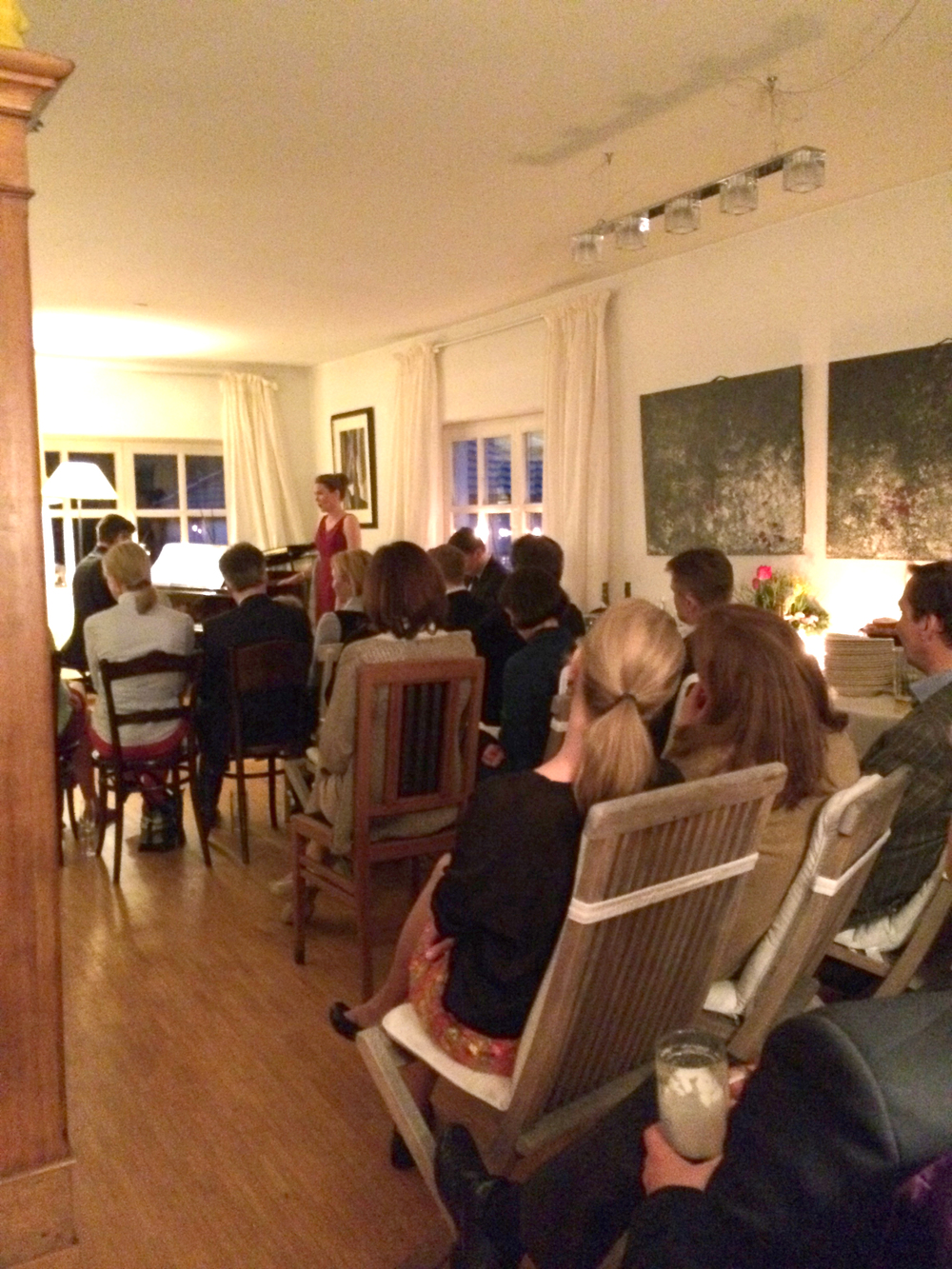 An unfortunately bad picture of a really great house concert we had.