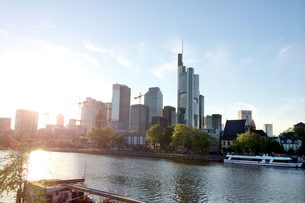 Frankfurt is right on the Main River and there are tons of really tall banks.