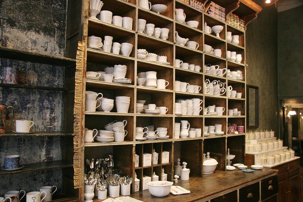 Inside a little ceramic boutique.