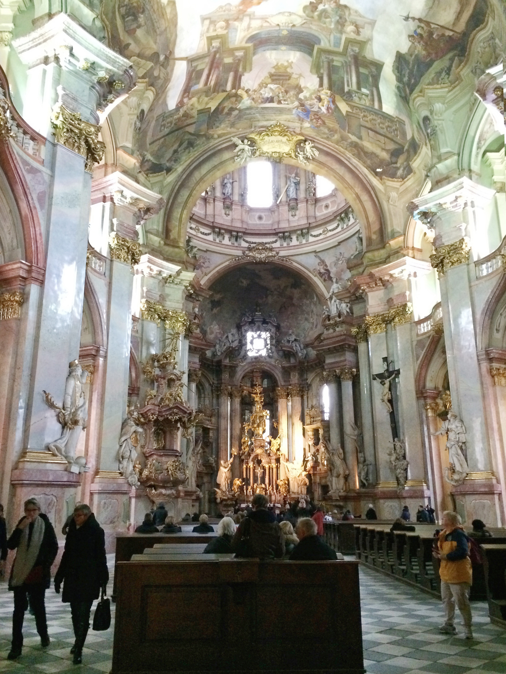 Inside the St. Nicholas baroque church. Wow.