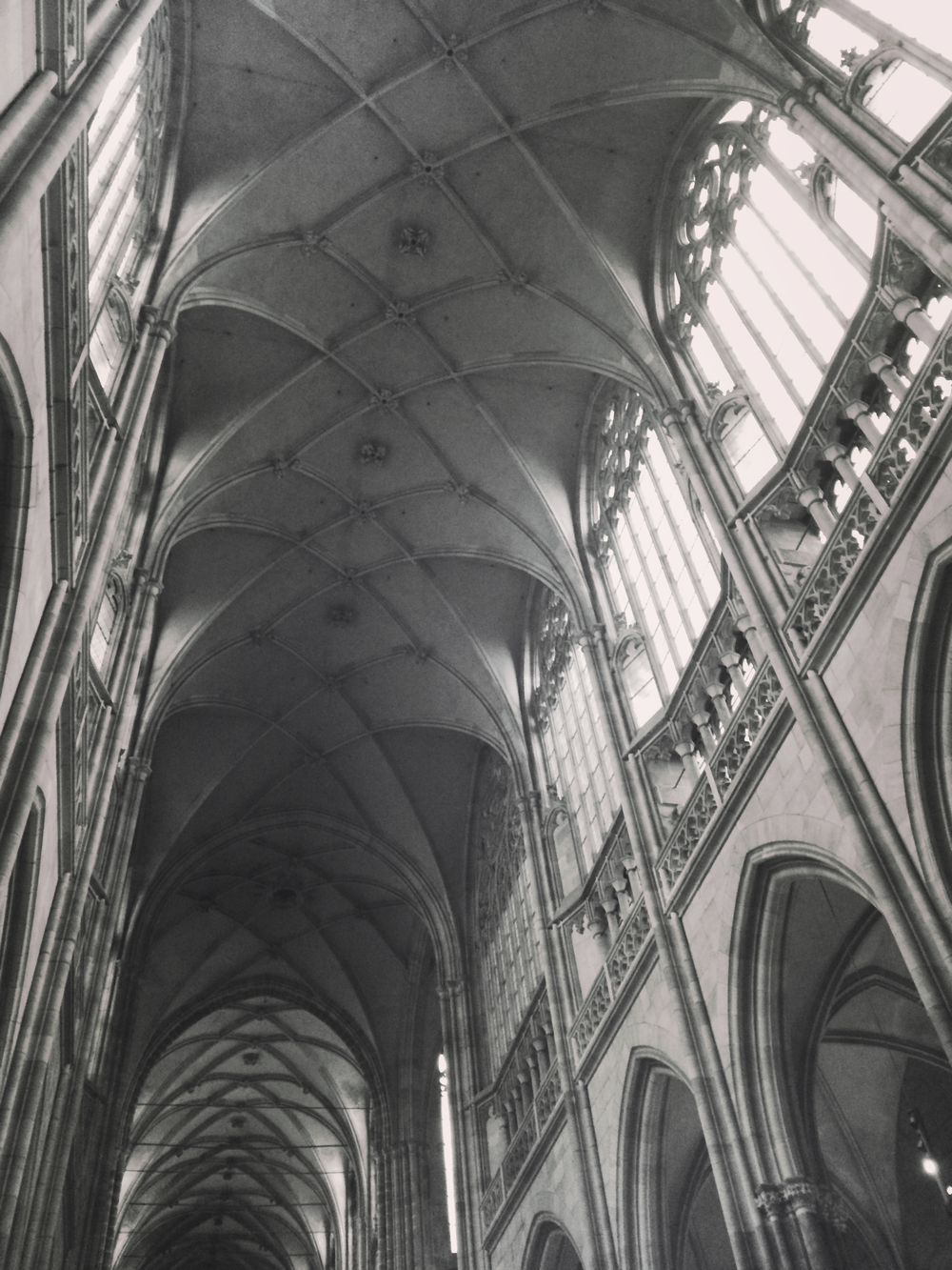 Inside the St. Vitus gothic cathedral. It was cool to see such good examples of such different architectural styles all in one city.