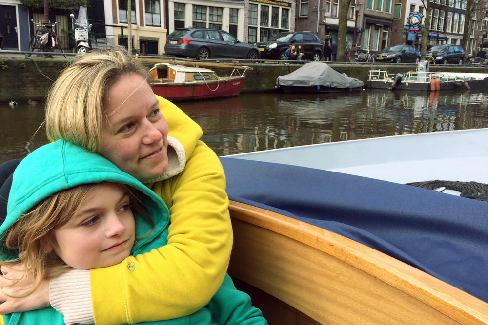 My friends Emily and Ilse enjoying the canal tour.