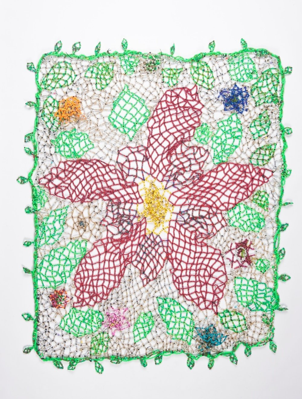 #19 - Grandmothers Garden          Sherry Tamburo and Heather Beauvais    This blanket was inspired by the stories that were told by several of the residents during our beading sessions. It became apparent that Grandmothers play a significant part in shaping our lives.
