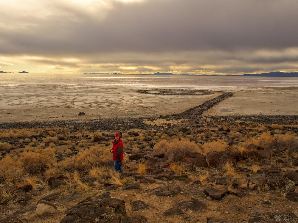 The Spiral Jetty along the northeastern Great Salt Lake