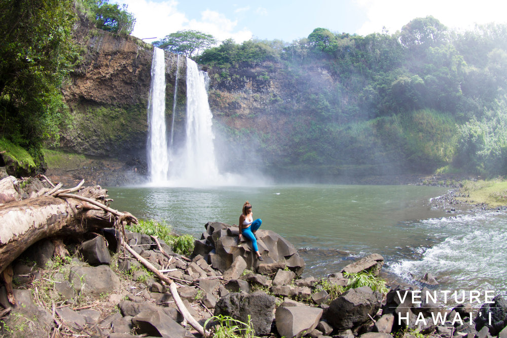 Wailua Falls - The very last stop of our Kaua'i trip we decided to hike the top and bottom of Wailua Falls.